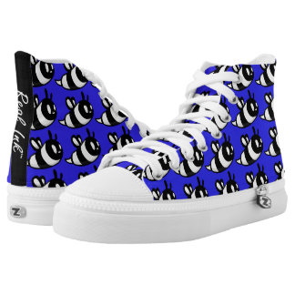 Real Ink™ Brand Cartoon Bee Blue Hi Tops Printed Shoes