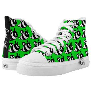 Real Ink™ Brand Cartoon Bee Green Hi Tops Printed Shoes