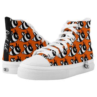 Real Ink™ Brand Cartoon Bee Orange Hi Tops Printed Shoes