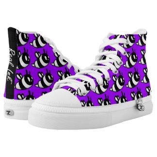 Real Ink™ Brand Cartoon Bee Purple Hi Tops Printed Shoes
