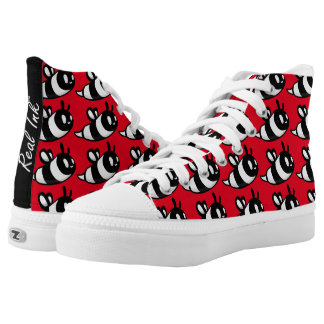 Real Ink™ Brand Cartoon Bee Red Hi Tops Printed Shoes