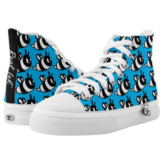 Real Ink™ Brand Cartoon Bee SkyBlue Hi Tops Printed Shoes