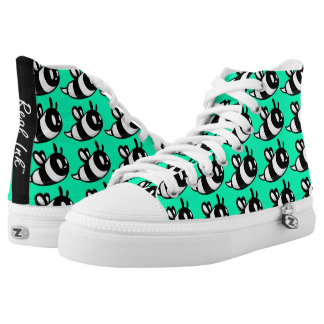 Real Ink™ Brand Cartoon Bee Teal Hi Tops Printed Shoes