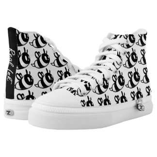 Real Ink™ Brand Cartoon Bee White Hi Tops Printed Shoes