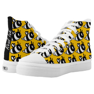 Real Ink™ Brand Cartoon Bee Yellow Hi Tops Printed Shoes