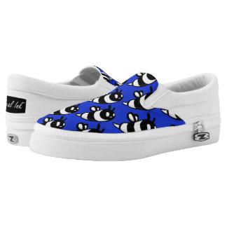 Real Ink™ Cartoon Bee Blue Slip Ons Printed Shoes