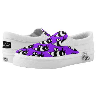 Real Ink™ Cartoon Bee Purple Slip Ons Printed Shoes