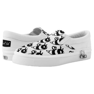 Real Ink™ Cartoon Bee White Slip Ons Printed Shoes