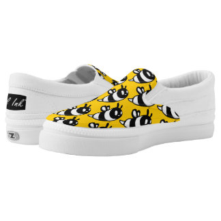 Real Ink™ Cartoon Bee Yellow Slip Ons Printed Shoes