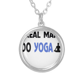real man do yoga silver plated necklace