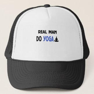 real man do yoga trucker hat