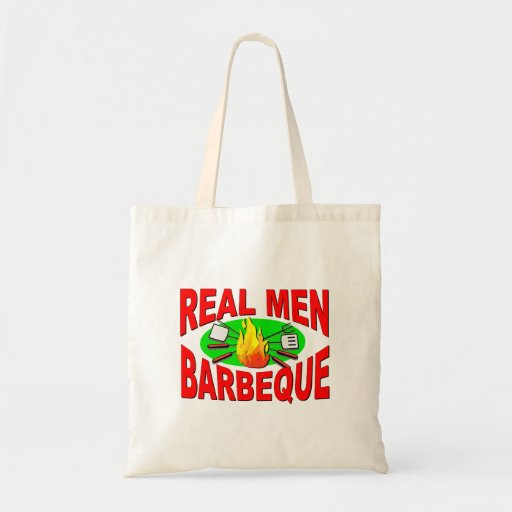 Real Men Barbeque. Funny Design for The BBQ King. Bags