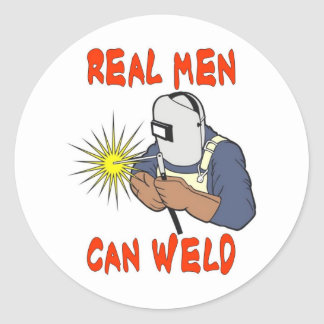 REAL MEN CAN WELD CLASSIC ROUND STICKER