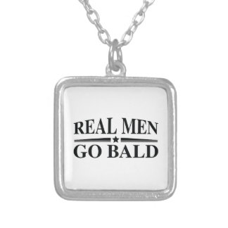 Real Men Go Bald Silver Plated Necklace