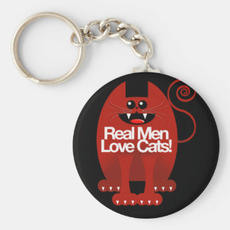 REAL MEN LOVE CATS BASIC ROUND BUTTON KEY RING