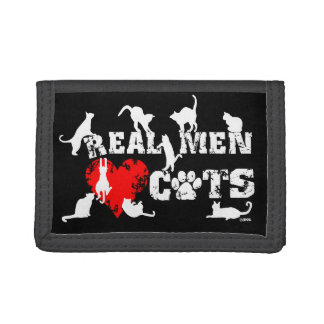 Real men love cats, cats have 9 lives tri-fold wallets