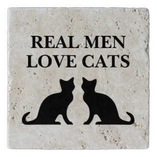 Real Men Love Cats funny gift travertine stone Trivet