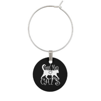 Real Men Love Cats Logotype Wine Charm