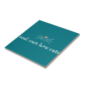 Real Men Love Cats Small Square Tile