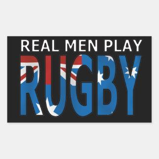 Real Men Play Rugby Australia Rectangular Sticker