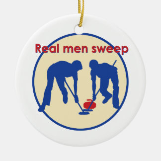 Real Men Sweep! Curling Ceramic Ornament