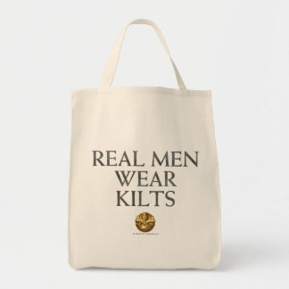 Real Men Wear Kilts Grocery Tote Bag