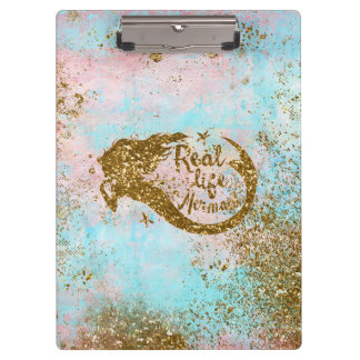 Real Mermaid Life- Glitter Gold Mermaid Clipboard