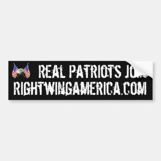 Real Patriots Join Rightwingamerica.com. Bumper Sticker