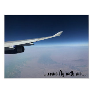 Real photo of plane wing - come fly with me! poster