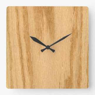Real Red Oak Veneer Woodgrain Square Wall Clock
