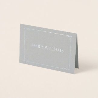 Real Silver Foil Art Deco Wedding Place Card Grey