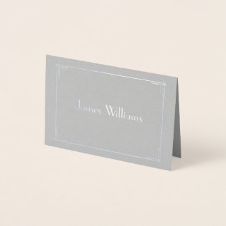 Real Silver Foil Art Deco Wedding Place Cards Grey
