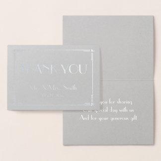 Real Silver Foil Deco Grey Wedding Thank You Card