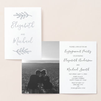 Real Silver Foil Engagement Party Invite Photo
