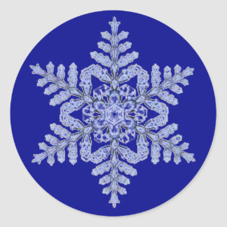 Real Snowflake on Deep Blue Classic Round Sticker