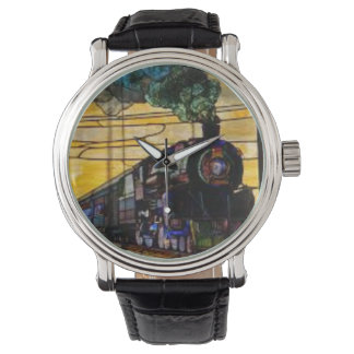 Real steam train engine on vitage watch