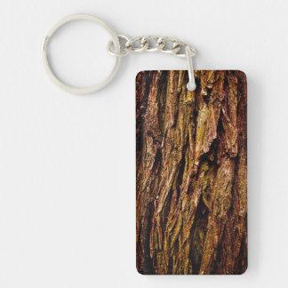 Real Tree Bark Single-Sided Rectangular Acrylic Key Ring