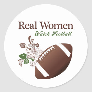 Real women watch football classic round sticker