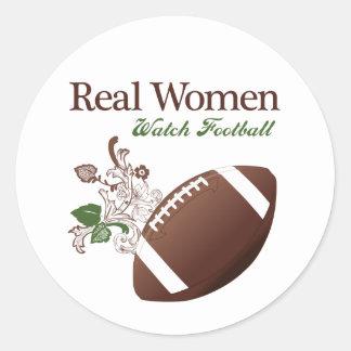 Real women watch football round sticker