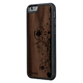 Real Wood Country Chic Personalized Carved Walnut iPhone 6 Bumper Case
