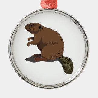 Realistic Beaver Metal Ornament