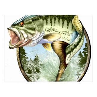 Realistic Big Mouth Bass Jumping. Postcard