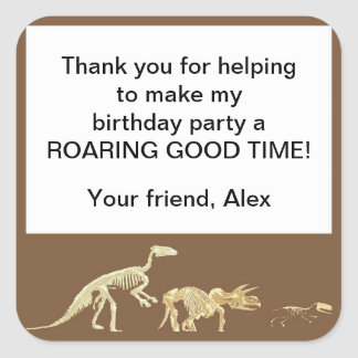 Realistic Dinosaur Fossil Birthday Party Favor Tag Square Sticker