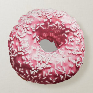Realistic Donut with Pink Frosting & Sprinkles Round Cushion