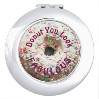 Realistic Donut with Rainbow Sprinkles Mirror For Makeup
