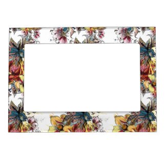 Realistic drawn Floral bouquet pattern Frame Magnets
