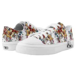 Realistic drawn Floral bouquet pattern Low Tops