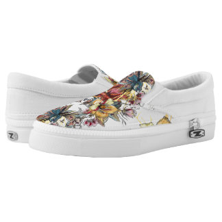 Realistic drawn Floral bouquet pattern Slip-On Shoes