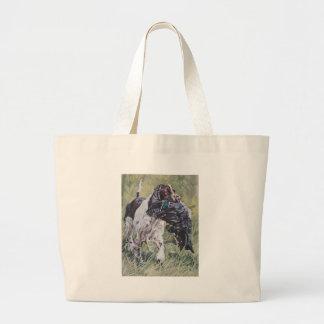 realistic English Springer Dog Fine Art Painting Large Tote Bag