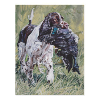 realistic English Springer Dog Fine Art Painting Postcard
